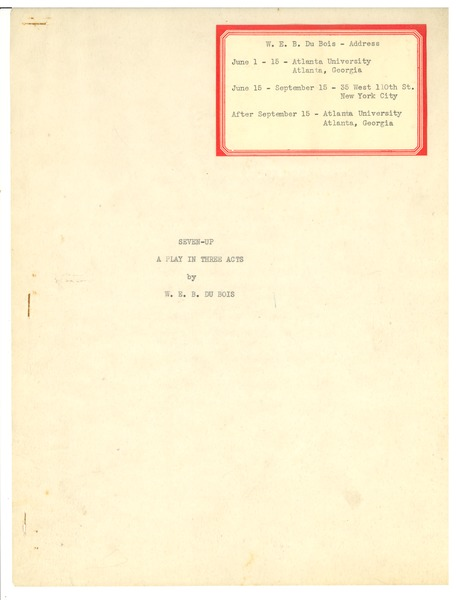 Seven-up: A play in three acts: , 1931