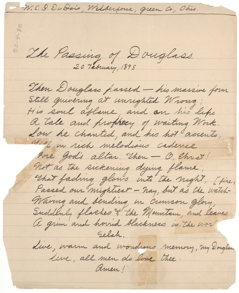The  passing of Douglass, February 20, 1895