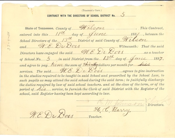 w. e. b. du bois state of tennessee teaching certificate, june 11, 1887