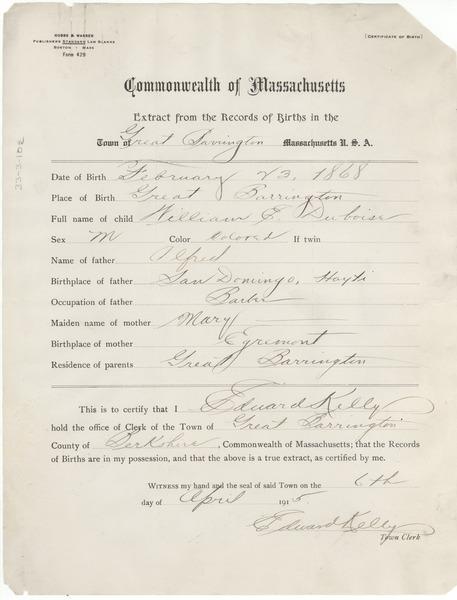 birth record of w. e. b. du bois, april 6, 1915