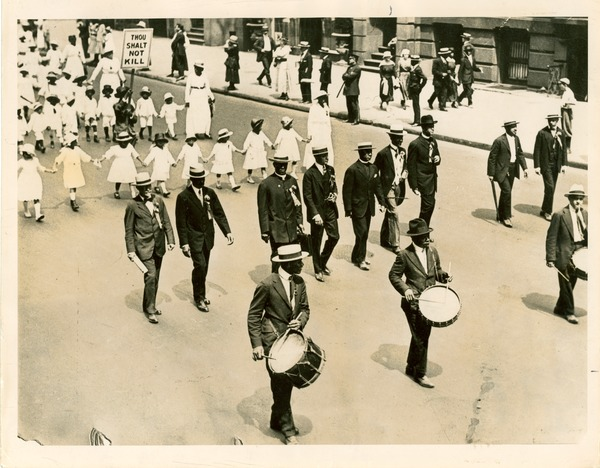 W. E. B. Du Bois marching on Fifth Avenue, July 29, 1917 in anti-lynching parade, July 28, 1917