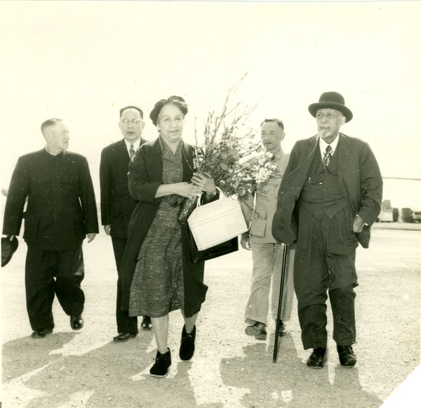 W. E. B. Du Bois and Shirley Graham Du Bois arriving in southern China, April 1959