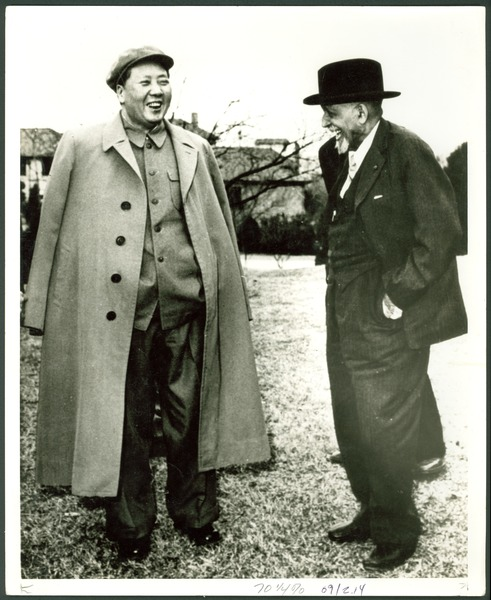 W. E. B. Du Bois with Mao Tse-tung in a garden, Lake Country, Central China, March 1959
