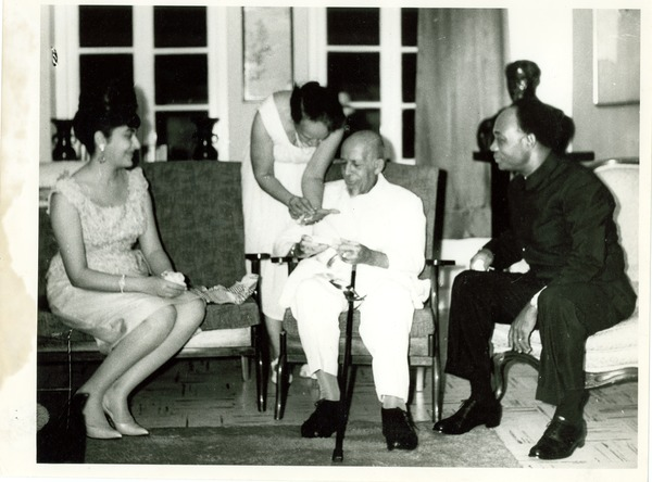 W. E. B. Du Bois on his 95th birthday with Shirley Graham Du Bois, Kwame Nkrumah and Madame Nkrumah, February 23, 1963