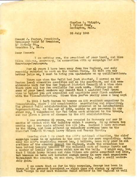 Letter from Charles L. Whipple to Howard J. Foster, July 26, 1945