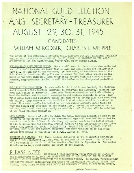 National Guild Election for ANG Secretary-Treasurer August 29, 30, 31, 1945,             Candidates: William W. Rodgers, Charles L. Whipple, ca. August 1945