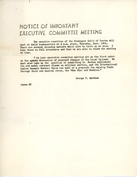 Notice of important Executive Committee meeting, ca. September 19, 1940