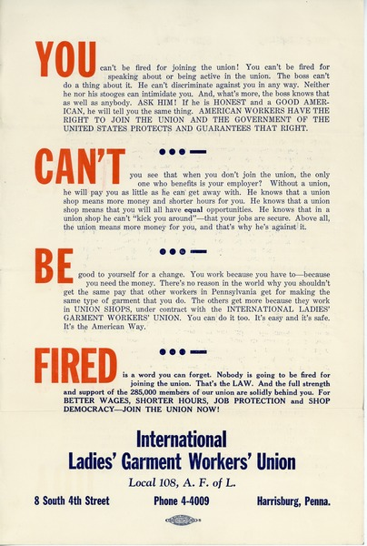 You can't be fired, ca. 1941