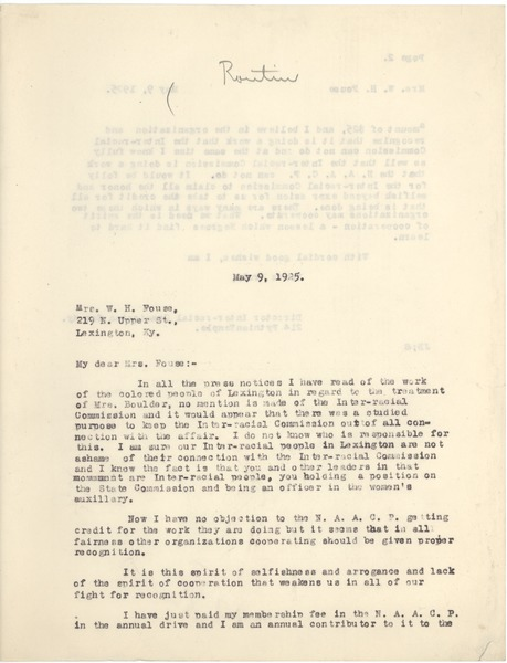 Bond, James, correspondence, May 9, 1925–May 25, 1925