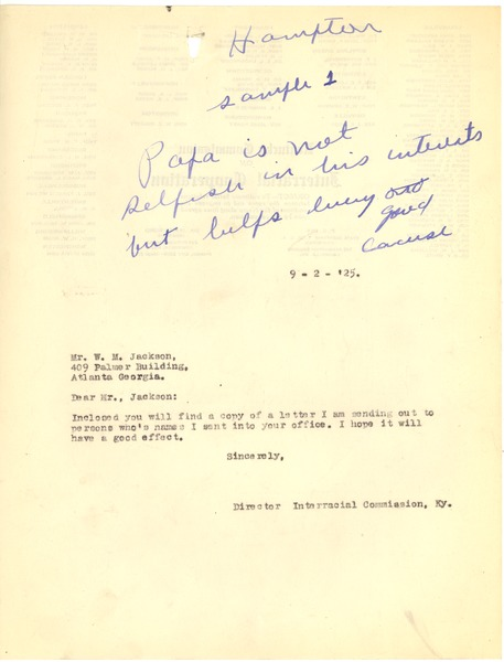 Bond, James, correspondence, September 2, 1925–September 23, 1925