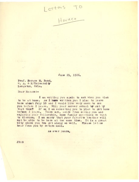 Bond, James, correspondence, June 21, 1926–September 7, 1926