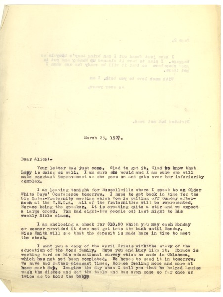 Bond, James, correspondence, March 25, 1927–April 29, 1927