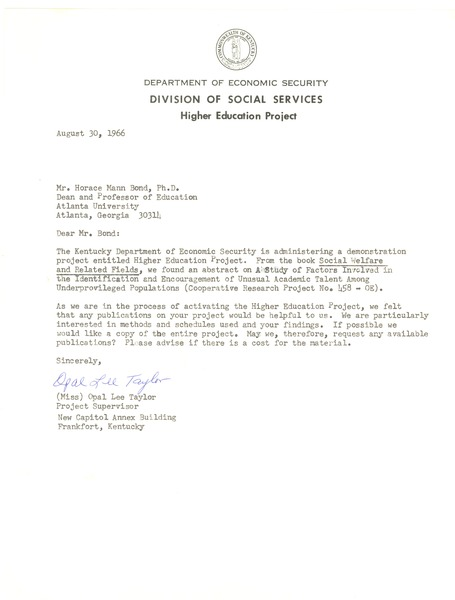 Kentucky. Department for Economic Security. Division of Social Services, 1966