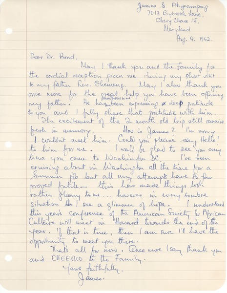Africa, correspondence, August 9, 1962–July 24, 1963