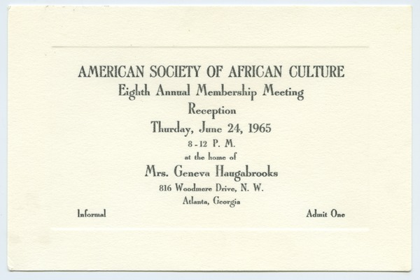 American Society of African Culture, June 24, 1965–June 26, 1965