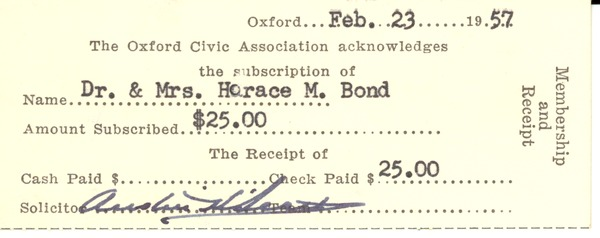 Financial: bills and receipts, 1957