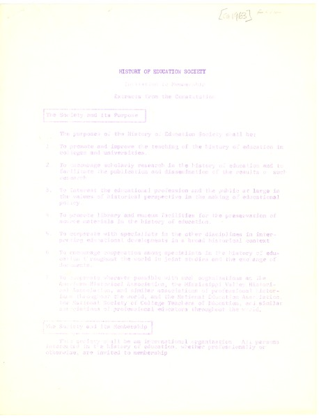 History of Education Society, 1963–January 11, 1965