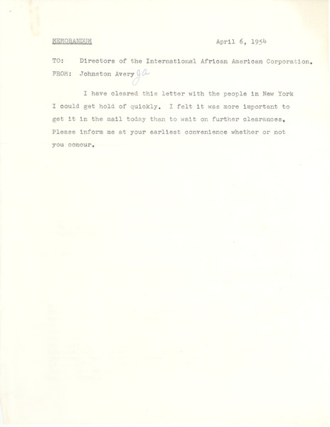 International African American Corporation, April 6, 1954–May 21, 1954