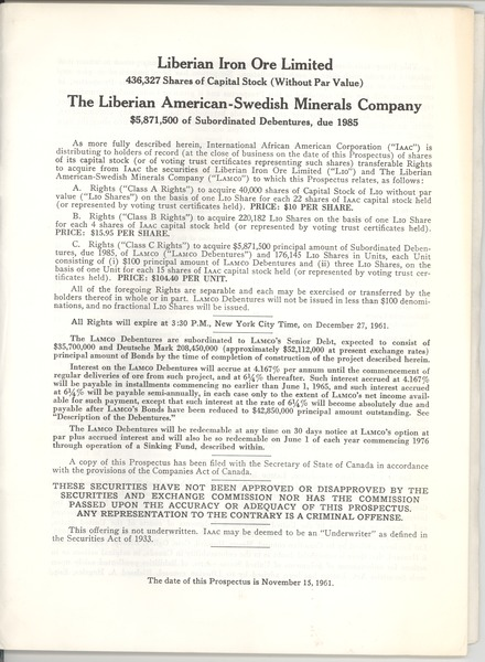 International African American Corporation, November 15, 1961