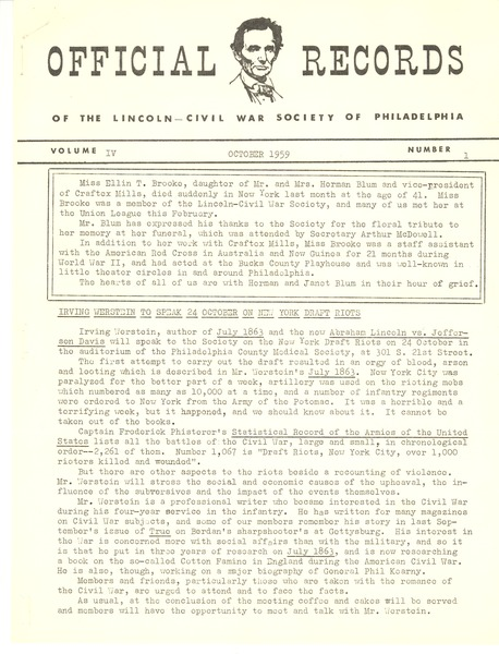 Lincoln-Civil War Society of Philadelphia, October 1959–May 10, 1960