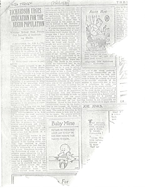 Newspaper clippings: education, February 8, 1930–June 11, 1959