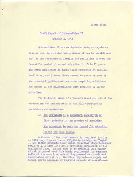 President's Committee on Education Beyond the High School, October 4, 1956–October 5, 1956