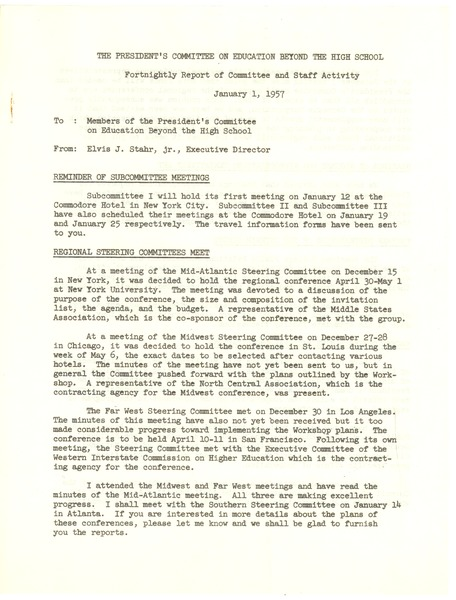 President's Committee on Education Beyond the High School, January 1, 1957–January 19, 1957