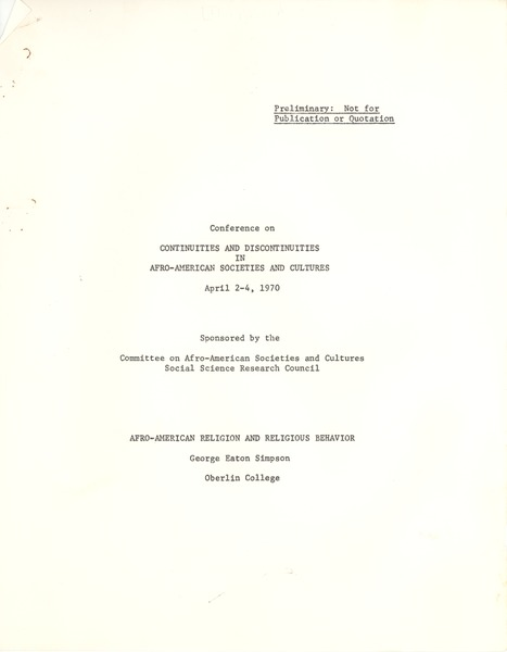 Social Science Research Council (U.S.), April 1970
