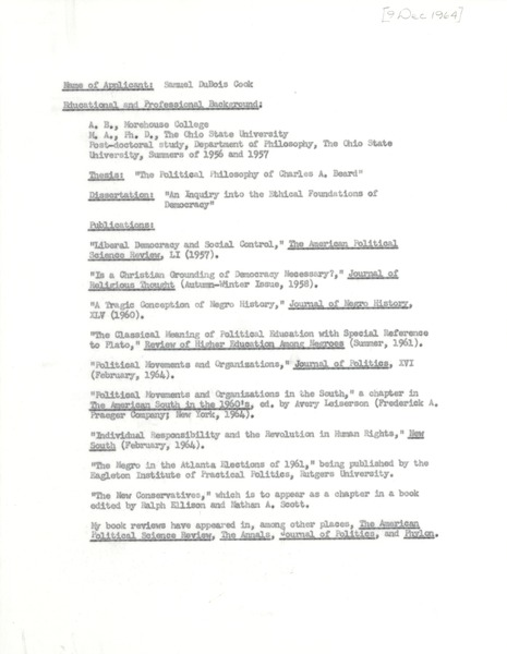 Research Committee, proposals, A-C, June 21, 1967–November 30, 1970