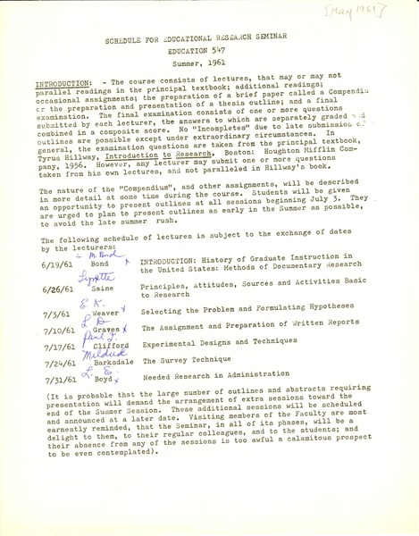 Student assignments, general, May 1961–1961
