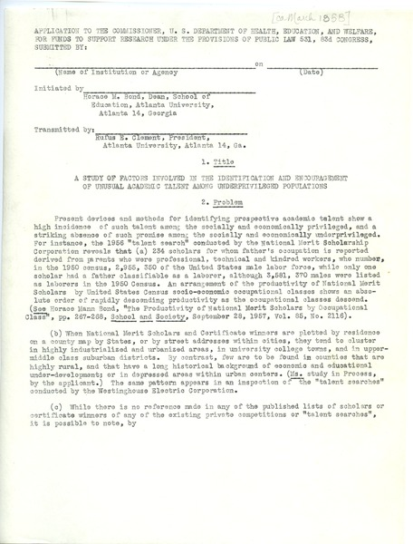 Study of factors, general, March 1958–July 1958