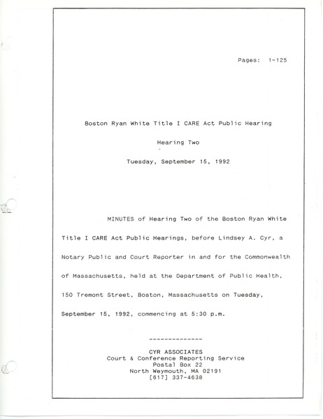 Boston Ryan White title I CARE act public hearing: Hearing two: , September 15, 1992