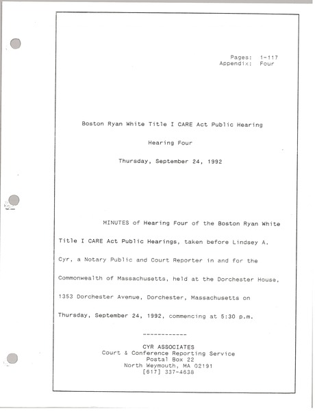 Boston Ryan White title I CARE act public hearing: Hearing four: , September 24, 1992