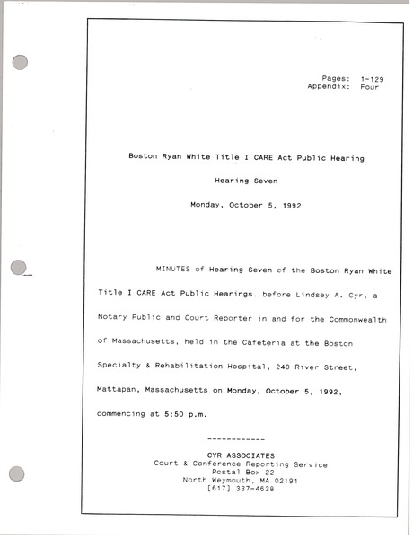 Boston Ryan White title I CARE act public hearing: Hearing seven: , October 5, 1992