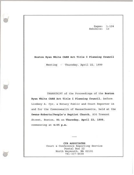 Boston Ryan White CARE act title I planning council meeting, April 22, 1999