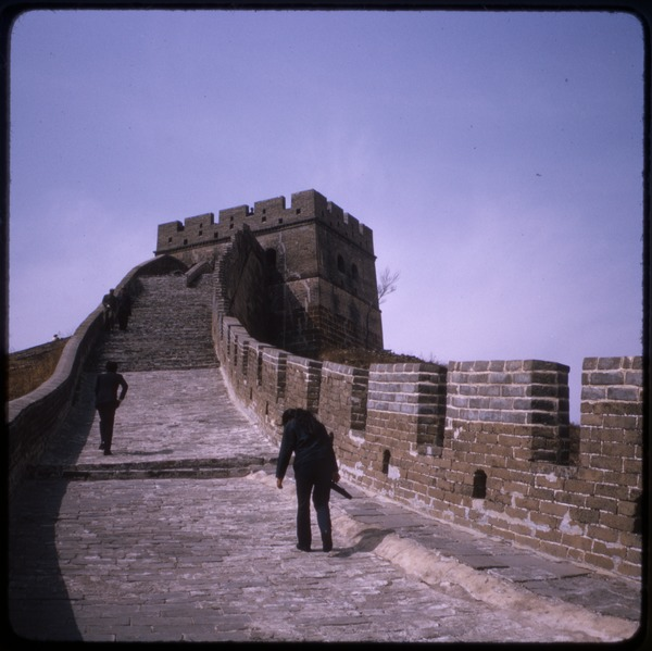 Great Wall of China: View of tourists walking along the top: , ca. April 19, 1974