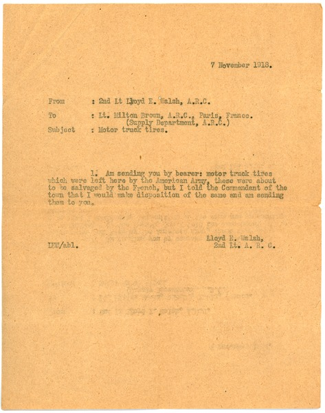 Letter from Lloyd E. Walsh to Milton R. Brown, November 7, 1918