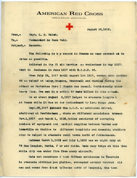 Letter from Lloyd E. Walsh to Commander of Beauvoir, August 26, 1919