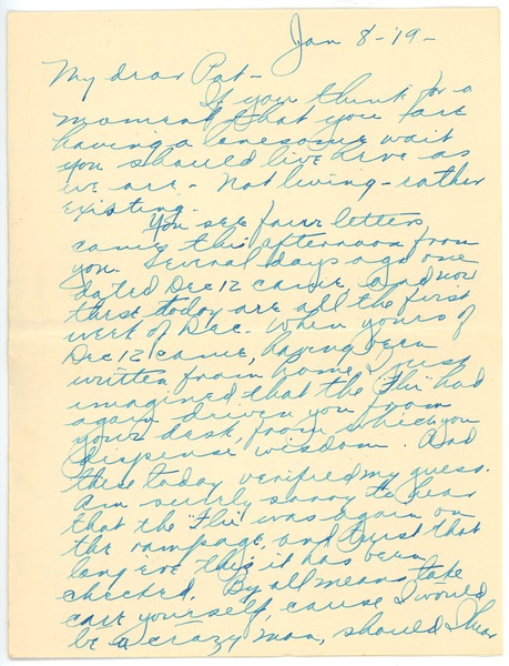 Letter from Clinton T. Brann to Rhea Oppenheimer, January 8, 1919