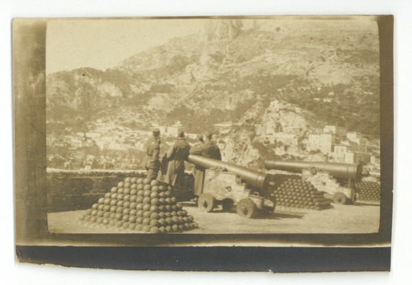 Cannons at a garrison in Monaco, March 1919