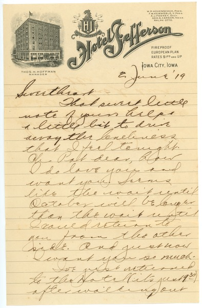 Letter from Clinton T. Brann to Rhea Oppenheimer, June 2, 1919