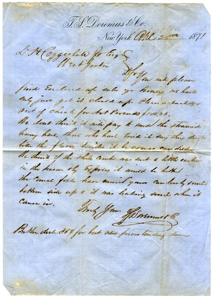 Letter from T. S. Doremus & Co. to D. H. Coggeshall, April 28, 1871
