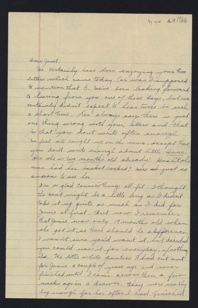 Letter from Katherine Irey to Janet MacDowell, March 23, 1936