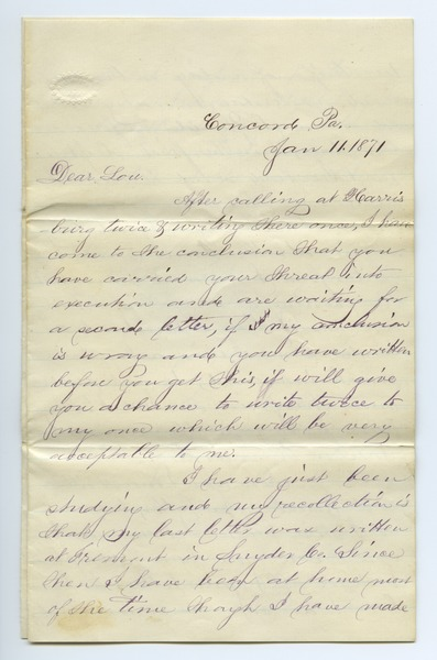 Letter from Samp King to Louisa Gass, January 11, 1871