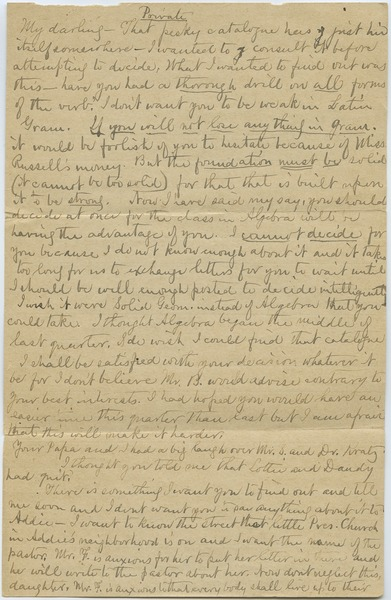 Letter from Louisa Gass to Sadie Kessel, January 12, 1900?