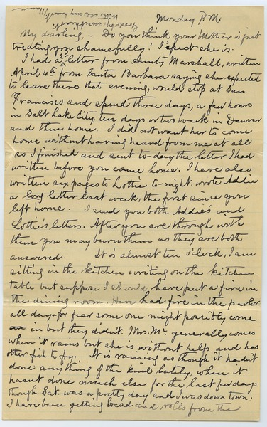Letter from Louisa Gass to Sadie Kessel, April 20, 1903?