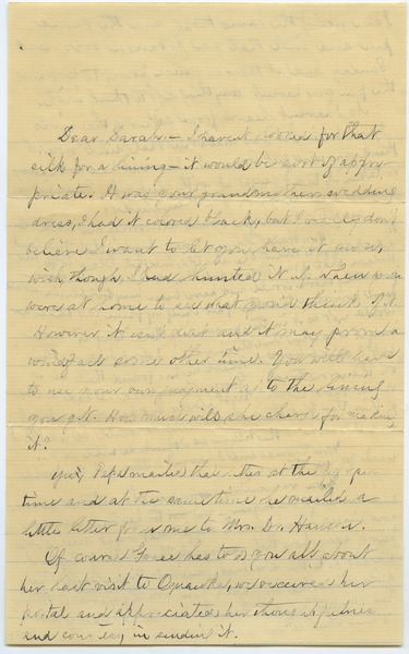 Letter from Louisa Gass to Sarah Kessel, June 4, 1902