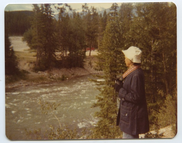 Katty Irey alongside the Maligne River, July 2, 1979