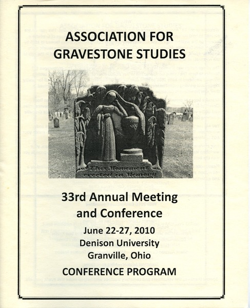 The  Association for Gravestone Studies 33rd annual meeting and conference :
