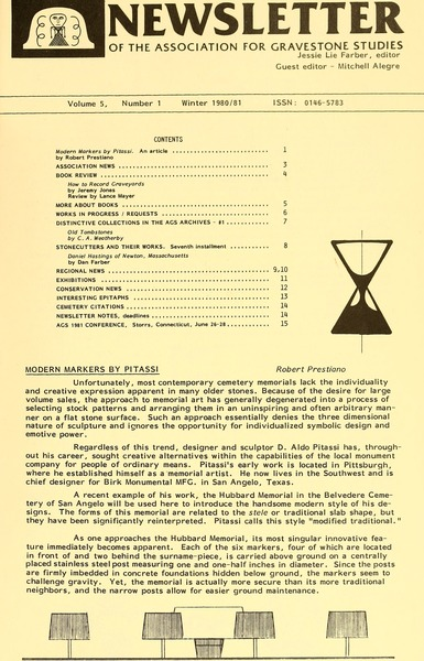Newsletter of the Association for Gravestone Studies, 1981